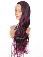 Women Synthetic Wig Lace Front Long Wavy Black/Purple Ombre Hair Dark Roots Party Wig Celebrity Wig Halloween Wig Costume Wig