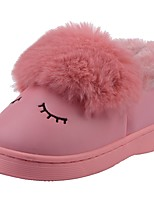 Girls' Shoes PU Velvet Winter Fur Lining Fluff Lining Comfort First Walkers Snow Boots Slippers & Flip-Flops Pom-pom For Casual Light
