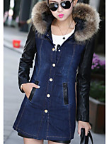 Women's Going out Casual/Daily Simple Fall Winter Denim Jacket,Solid Hooded Long Sleeve Regular Cotton