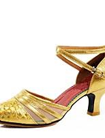 Damen Modern Atmungsaktive Mesh Kunstleder Sandalen Im Freien Verschlussschnalle Blockabsatz Gold Silber Rot 5 - 6,8 cm