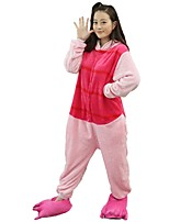Kigurumi Pajamas Piggy/Pig Festival/Holiday Animal Sleepwear Halloween Fashion Embroidered Flannel Fabric Cosplay Costumes Shoes Kigurumi