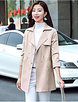 Women's Casual/Daily Simple Fall Trench Coat,Solid Shirt Collar Long Sleeve Regular Polyester