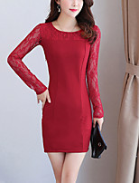 Women's Plus Size Going out Street chic Bodycon Lace Dress,Solid Round Neck Above Knee Long Sleeves Polyester Spandex Fall High Rise