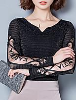Tee-shirt Femme,Couleur Pleine Sortie Décontracté / Quotidien simple Automne Hiver Manches Longues Col en V Polyester Moyen