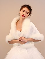 Women's Wrap Shawls Rabbit Fur Faux Fur Wedding Party/ Evening Pattern / Print Wave-like