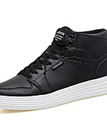 Women's Shoes PU Spring Fall Light Soles Sneakers Flat Heel Round Toe Lace-up For Casual Black White