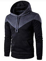 Men's Casual/Daily Simple Hoodie Color Block Hooded Micro-elastic Cotton Acrylic Long Sleeve Fall Winter