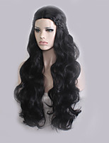Women Synthetic Wig Capless Long Wavy Dark Black Plait Hair Middle Part Cosplay Wig Costume Wig
