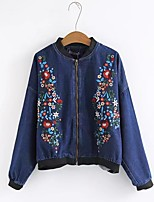 Women's Sports Going out Casual/Daily Simple Chinoiserie Spring Fall Denim Jacket,Solid Print Stand Long Sleeve Regular Polyester Others