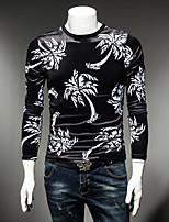 Men's Sports Sweatshirt Solid Print Round Neck Micro-elastic Cotton Long Sleeve Fall