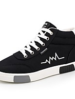 Men's Shoes Fabric Fall Winter Comfort Sneakers Lace-up For Casual Gray Black/White Black/Red