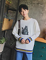 Men's Casual/Daily Regular Cardigan,Print Round Neck Long Sleeves Cotton Fall Medium Micro-elastic