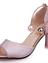 Для женщин Обувь Полиуретан Лето Светодиодные подошвы Обувь на каблуках На шпильке Открытый мыс Бусины Назначение Повседневные Белый