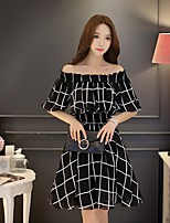 DABUWAWA Women's Holiday Going out Casual/Daily Vintage Simple Cute A Line Swing DressColor Block Boat Neck Knee-length Half Sleeves Polyester