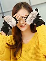 Women's Rabbit Knit Wrist Length Half Finger Fingertips,Accessories Casual Cartoon Winter Gloves Keep Warm Lovely Fashion Knitwear