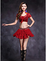 Belly Dance Outfits Women's Performance Lace 2 Pieces Short Sleeve Natural Skirts Tops