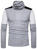 Standard Pullover Da uomo-Casual Monocolore A collo alto Manica lunga Cotone Autunno Inverno Medio spessore Media elasticità