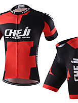 cheji® Cycling Jersey with Shorts Men's Short Sleeves Bike Clothing Suits Quick Dry Breathability Stretchy Fashion Summer Cycling/Bike