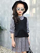 Girls' Solid Sets,Rayon Fall Winter Long Sleeve Clothing Set