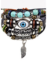 Men's Leather Bracelet Strand Bracelet Hip-Hop Personalized Leather Alloy Round Evil Eye Jewelry For Stage Street