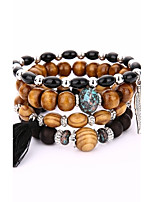 Men's Women's Strand Bracelet Wrap Bracelet Fashion Vintage Wood Alloy Geometric Jewelry For Casual Stage