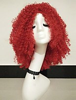 Women Synthetic Wig Capless Medium Curly Red Natural Wigs Costume Wig