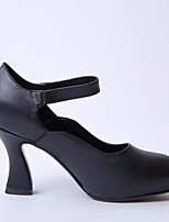 Women's Shoes Leather Spring Fall Comfort Heels Chunky Heel Round Toe For Casual White Black