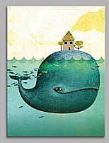 Whale and The Hut Modern Artwork Wall Art for Room Decoration