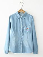 Для женщин На выход На каждый день Весна Осень Рубашка Рубашечный воротник,Секси Простое Уличный стиль Однотонный Вышивка Длинный рукав,