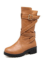 Women's Shoes Leatherette Fall Winter Fashion Boots Boots Chunky Heel Round Toe Mid-Calf Boots Buckle For Casual Dress Brown Yellow Black