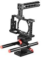 la lega di alluminio della gabbia della videocamera della videocamera protettiva andoer include la maniglia superiore / 2pcs 15mm stelo /
