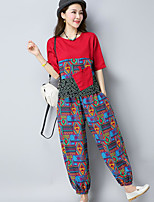 Women's Casual/Daily Simple Summer T-shirt Pant Suits,Print Pattern Round Neck Short Sleeve Micro-elastic