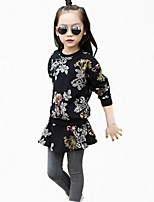 Girls' Floral Embroidered Sets,Cotton Fall All Seasons Long Sleeve Clothing Set