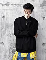 Sweatshirt Homme Sortie simple Rétro Couleur Pleine Col Arrondi Micro-élastique Coton Manches longues Printemps
