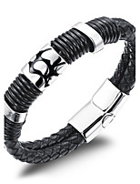 Men's Boys' Cuff Bracelet Bracelet Jewelry Fashion Simple Style Leather Titanium Steel Geometric Jewelry For Daily Office & Career