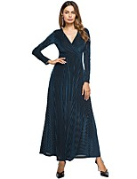SUOQI Women's Party Going out Simple Sheath Swing Dress,Striped V Neck Maxi Long Sleeves Polyester Fall Winter Mid Rise Micro-elastic Medium