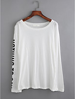 T-shirt Da donna Casual Semplice Autunno,Fantasia geometrica Rotonda Cotone Manica lunga Sottile