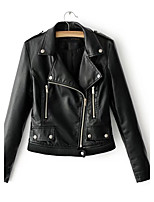 Women's Going out Casual/Daily Simple Street chic Spring Fall Leather Jacket,Solid Notch Lapel Long Sleeve Regular Others