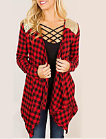Women's Casual/Daily Sexy Spring Fall Shirt,Plaid V Neck Long Sleeves Cotton Medium