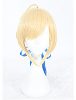 Women Synthetic Wig Capless Short Straight Blonde Braided Wig Cosplay Wig Costume Wig