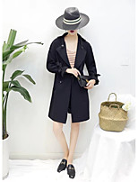 Women's Going out Casual/Daily Simple Fall Trench Coat,Solid Notch Lapel Long Sleeve Long Cotton Others