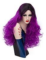 Donna Parrucche sintetiche Senza tappo Lungo Onda riccia Bright Purple Capelli schiariti Parrucca di Halloween costumi parrucche