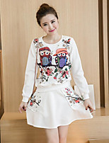 Women's Casual/Daily Simple Fall Blouse Skirt Suits,Print Round Neck Long Sleeve