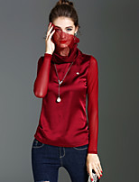 XSSL Women's Holiday Going out Vintage Cute Street chic Spring Fall T-shirt,Solid Turtleneck Long Sleeves Polyester Medium