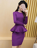 Women's Casual/Daily Simple Fall Blouse Skirt Suits,Solid Round Neck Long Sleeve Micro-elastic