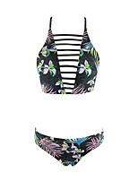 Women's Halter Bikini Retro High Rise Color Block Floral Sport Print