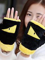 Women's Wool Cotton Wrist Length Half Finger,Accessories Casual Cartoon Winter Gloves Keep Warm Fashion Color Block Winter