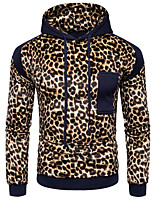 Men's Going out Casual/Daily Active Hoodie Leopard Stripe Hooded Micro-elastic Cotton Rayon Long Sleeve Fall Winter