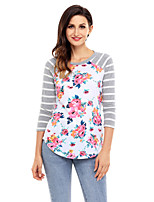 Women's Holiday Going out Cute Fall T-shirt,Print Round Neck 3/4 Length Sleeves Polyester Spandex Medium
