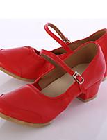 Women's Jazz Leatherette Sneaker Outdoor Customized Heel Red Customizable